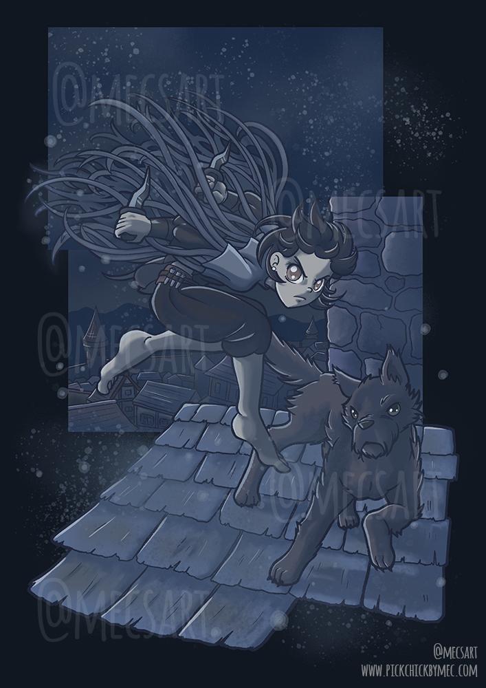 Ilustración de Vin saltando por los tejados de Luthadel con OreSeur perro